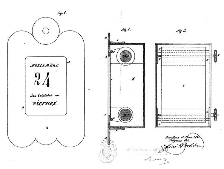 Calendario mecánico de Fulgencio Gil. Archivo Histórico de la Oficina Española de Patentes y Marcas (AHOEPM)