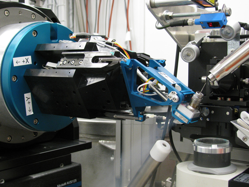Detail of the sample position in one of the Swiss Light Source beamlines. The use of kappa goniometers, such as PriGo is coming back due to their possibilities to improve efficient data collection of crystals in order to avoid radiation damage