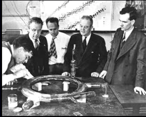 The team behind the first observation of man-made Synchrotron radiation at the GE laboratories: Left to Right: Robert Langmuir, Frank Elder, Anatole Gurewitsch, Ernest Charlton and Herb Pollock.
