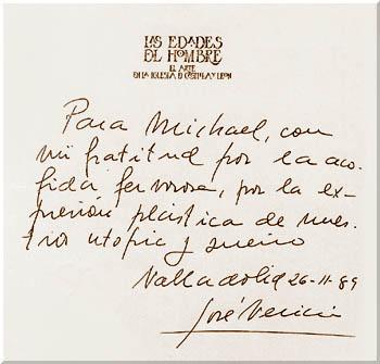 Dedicatoria de José Velicia a Michael Reckling, 1980. http://www.catedral-valladolid.com/in-memoriam/jose-velicia/index.htm, consultado el 29 de abril de 2014