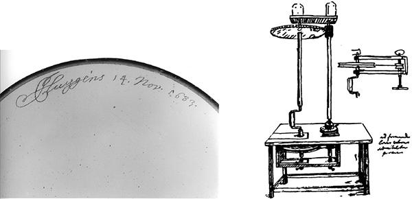 Detalle de una de las lentes de Huygens (Museum Boerhaave de Leiden) y diseño de una de sus máquinas para pulirlas (figura extraída de sus Oeuvres Complètes, tomo XVII, p. 304)