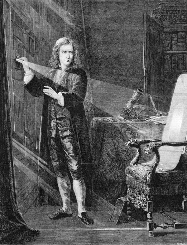 Grabado de 1879 con una recreación retrospectiva del experimento crucial
