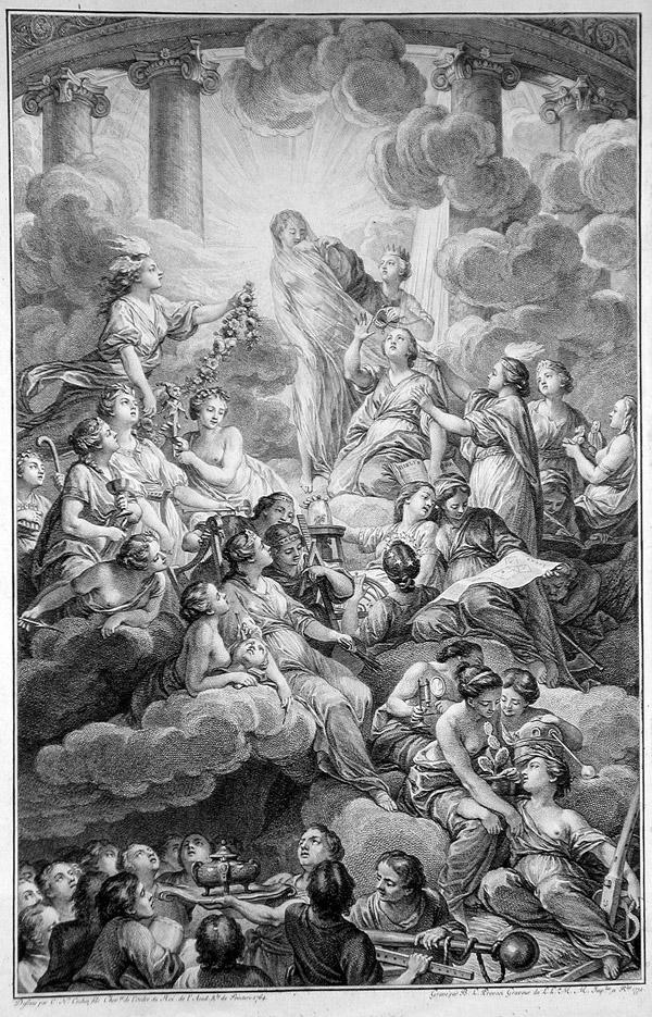 Frontispicio de la Encylopédie, grabado de Bonaventure Louis Prévost, según el dibujo de de Charles-Nicolas Cochin