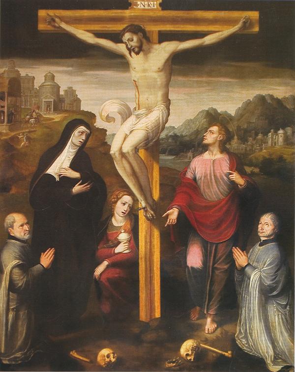 Juan Correa de Vivar. <em>Calvario con donantes</em>. Iglesia del salvador, Capilla de los Cedillo, Toledo.