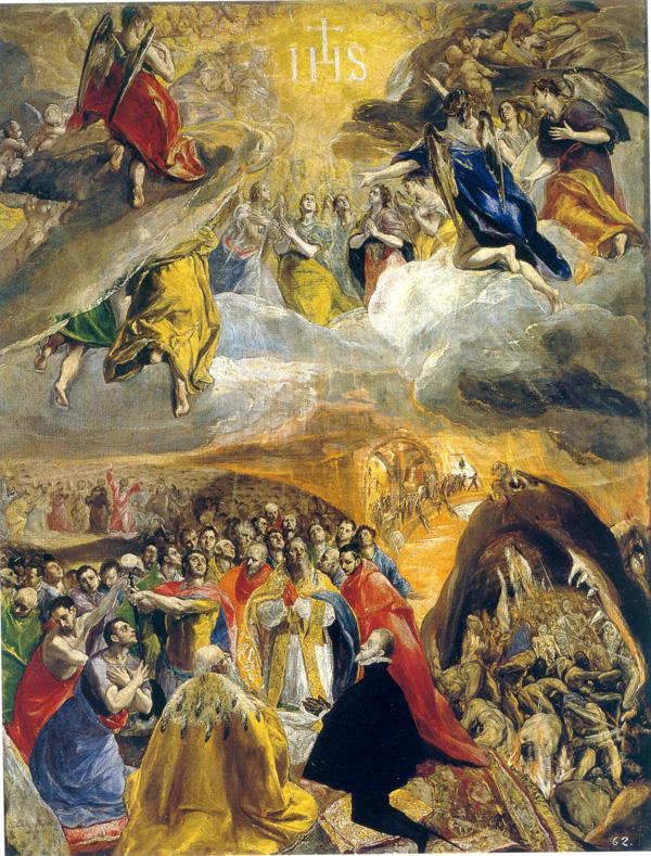 El Greco: <em>Adoración del nombre de Jesús y la Santa Liga</em>, 1579-1582. Real Monasterio de San Lorenzo de El Escorial.
