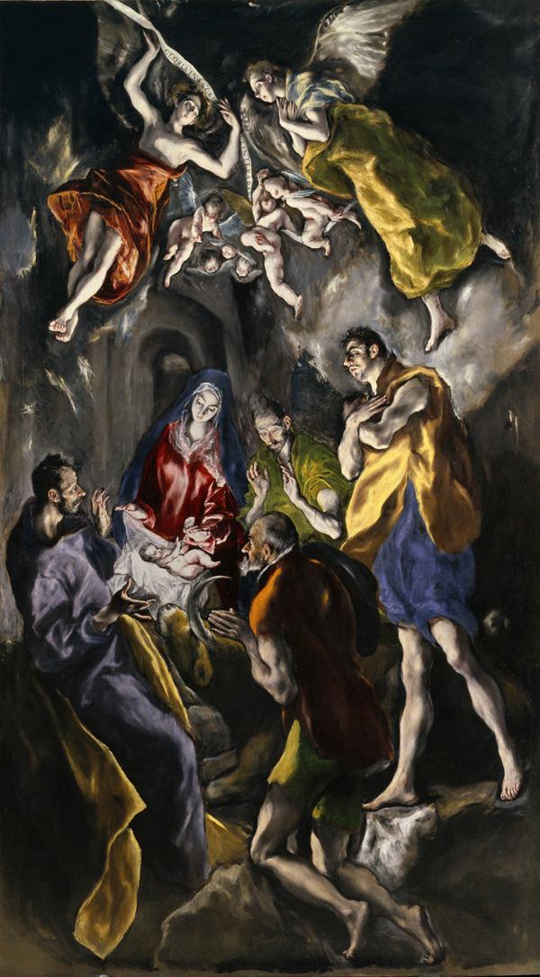 El Greco: <em>Adoración de los pastores</em>, 1612-1614. Madrid, Museo Nacional del Prado.