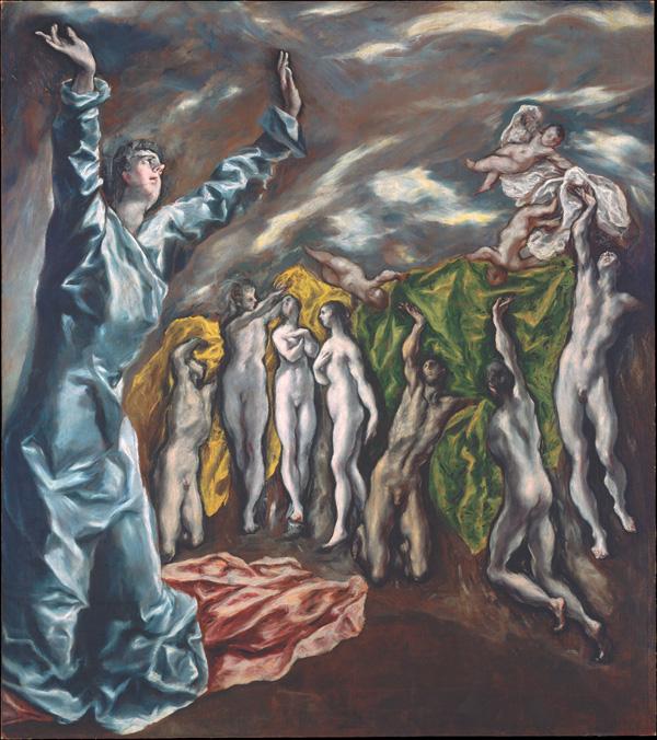 El Greco: <em>Apertura del quinto sello o Visión de San Juan: los cuerpos resucitados</em>, 1608-1622.  Nueva York, The Metropolitan Museum of Art.