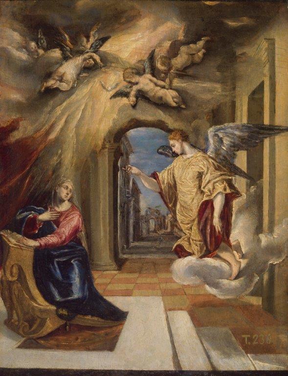 La Anunciación, 1570/72. Óleo sobre tabla, 26,7 x 20 cm. Madrid, Museo Nacional del Prado (P827)