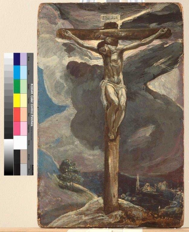 Cristo crucificado, 1573-74. Óleo sobre tabla, 30,5 x 19,8 cm. Toledo, Banco de Castilla-La Mancha, S.A. Grupo Liberbank