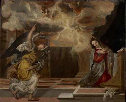 La Anunciación, 1568/70. Óleo sobre tabla, 62,5 x 76,5 cm. Madrid, Fondo Cultural Villar-Mir