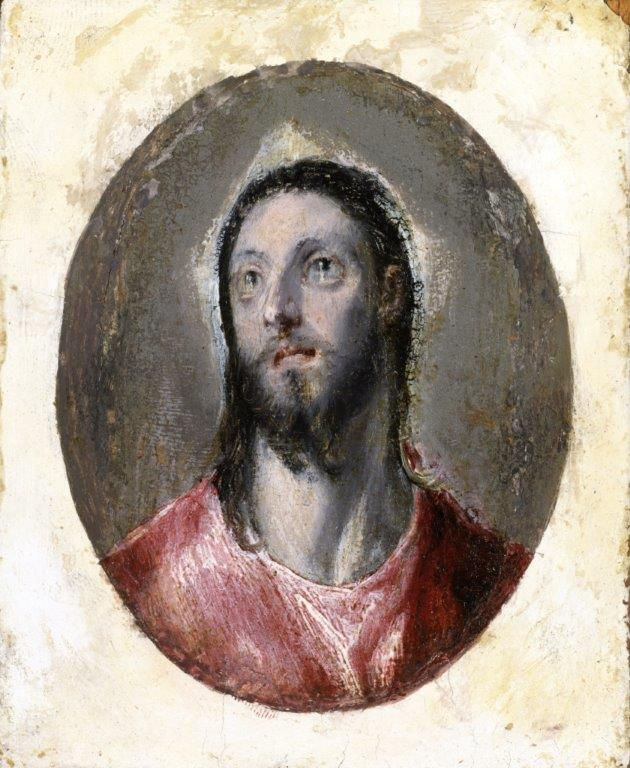 Cabeza de Cristo, ca. 1585/90. Óleo sobre papel adherido a tabla, 10,2 x 8,6 cm. México, Colección Pérez Simón