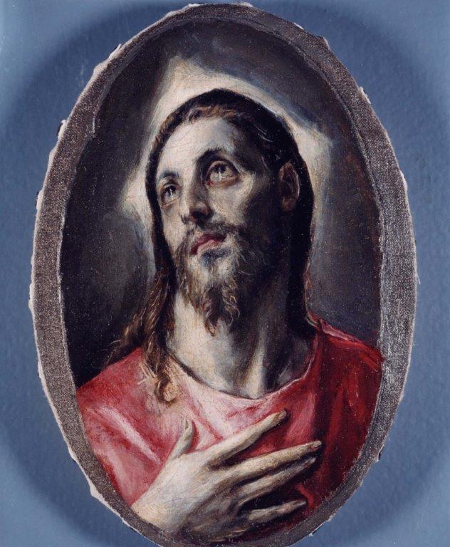 Cabeza de Cristo, ca. 1590/95. Óleo sobre papel adherido a lienzo, 15 x 9 cm. México, Colección privada