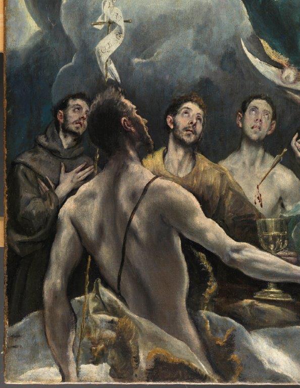 Detalle de La Coronación de la Virgen, 1591/92. Óleo sobre lienzo. Depósito del Obispado de Toledo en el Monasterio de Guadalupe