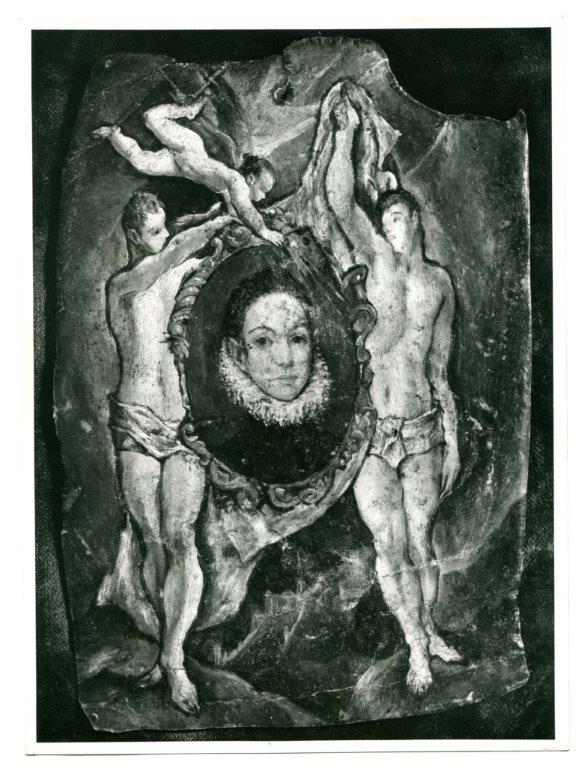 Retrato de caballero joven entre dos tenante. Fotos Ventura. Madrid. Imagen remitida al Museo del Prado, con fecha 12, II, 1947