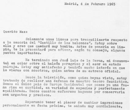 Carta de Félix Rodríguez de la Fuente a Maximiliano R. Borrell, fechada el 4 de febrero de 1965