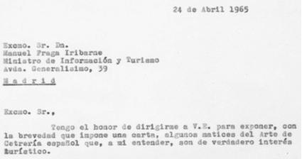 Detalle del comienzo de la carta que Félix Rodríguez de la Fuente escribió a Manuel Fraga, Ministro de Información y Turismo, el 24 de abril de 1965