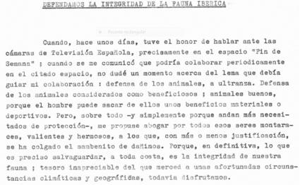 Detalle del comienzo del proyecto Defendamos la integridad de la fauna ibérica, que Félix Rodríguez de la Fuente envió a Carmelo Martínez, director de TeleRadio, el 13 de febrero de 1965