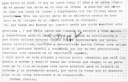 Detalle de la carta de M.P.O. a Rodríguez de la Fuente, enviada el 31 de agosto de 1967, de acuerdo con el matasellos del sobre