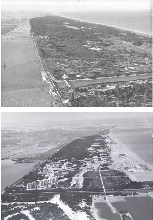 Vistas aéreas del mismo trozo de la Dehesa de El Saler, antes (1963) y después (1974) de la urbanización