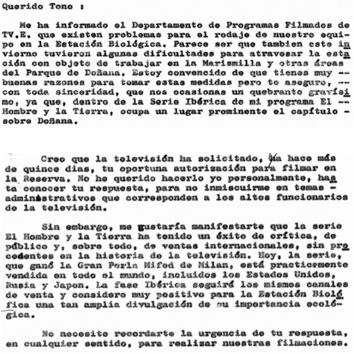 Fragmentos de la carta escrita por Félix Rodríguez de la Fuente a José Antonio (Tono) Valverde, fechada el 25 de mayo de 1974