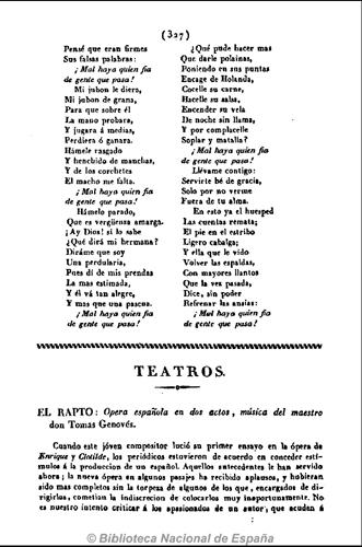 Cartas Españolas (jueves 21 de junio de 1832). Teatros. El rapto. Ópera española en dos actos, p. 327
