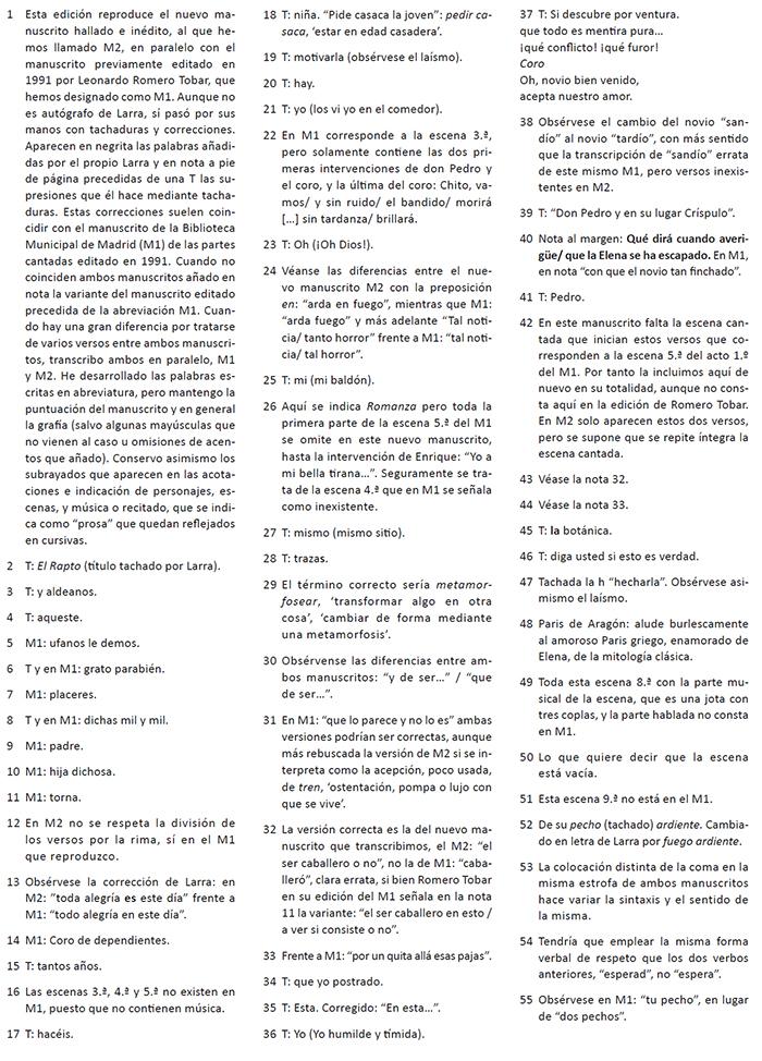NOTAS DE LA EDICIÓN CRÍTICA