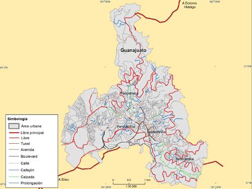 Mapa de vialidades de la ciudad de Guanajuato, México