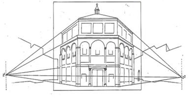 Reconstrucción diagramática de la demostración perspectiva del baptisterio florentino de Brunelleschi