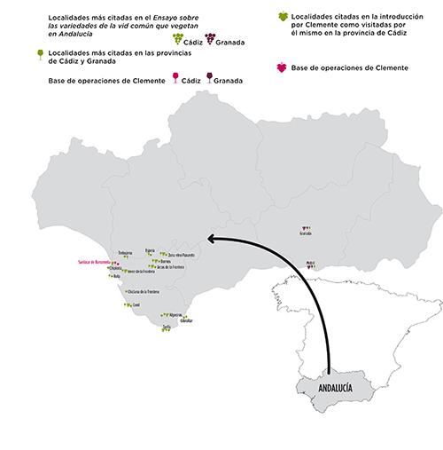 Localidades citadas por Simón de Rojas Clemente como visitadas por él mismo en la provincia de Cádiz